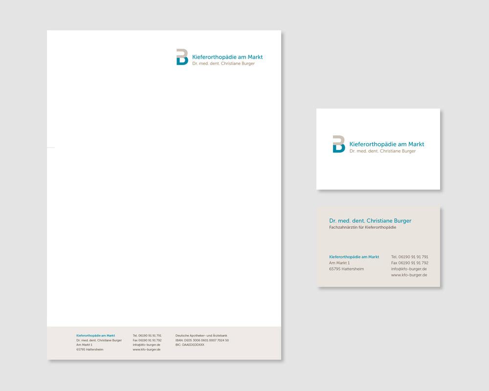 Logodesign und Geschäftsausstattung für die kieferorthopädische Praxis Christiane Burger